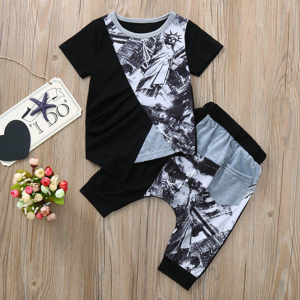 Baby T-Shirt-Top Outfits-Sets Shorts Print Toddler Kid Cotton Boys for Splice 2pcs