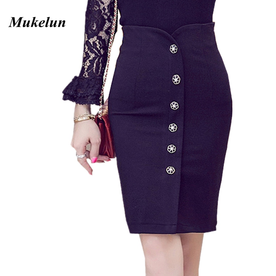 Saiz Plus Sexy Wanita Pejabat Skirt 2018 Summer Slim Bodycon Tinggi Waist Button Split Pejabat Formal Lady Black Pensil Skirts Wanita