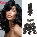 Peruvian Body Wave With Closure 7A Peruvian Virgin Hair With Closure 3pcs Human Hair Weave Bundles Deals With Full Lace Closure