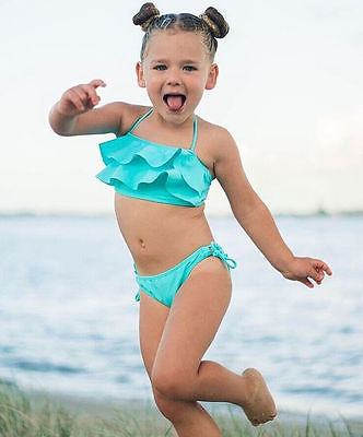 Tankini Swimsuit Baby-Girls Toddler Kids Summer Lace Blue Bottom 2pcs-Set Soild