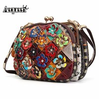AEQUEEN Diamond 3D Flower Patchwork Shoulder Bag Women Genuine Leather Crossbody Bag Fashion Evening Clutches Bags Random Color