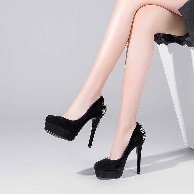 Mince Oi0347 Bout Taille Chaussures Élégant 3 Femmes Super L'intention Sexy En Black Haute Nous Noir Talons 9 Initiale Daim Cristal Rond Pompes PqCnfwnxRz