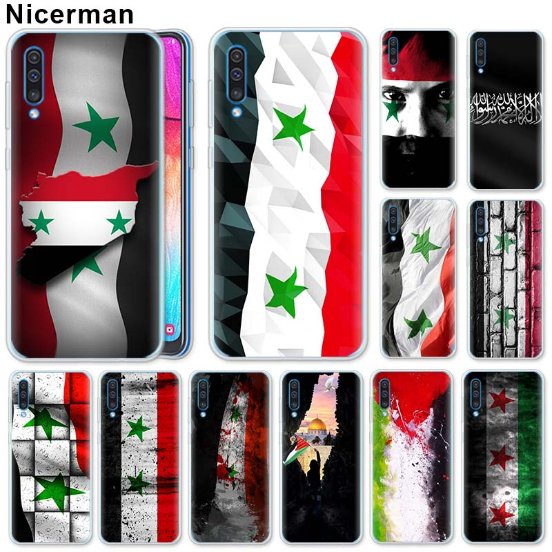 Syria <font><b>Flag</b></font> Silicone Case for <font><b>Samsung</b></font> Galaxy A50 A70 A40 A20e <font><b>A10</b></font> A30 A80 A6 A8 Plus A7 A9 Clear TPU Case image