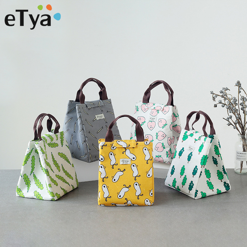 eTya 2018 Brand Food Fresh Keep Lunch Cooler Bag Cartoon Women Kids Picnic Travel Storage Icepack Thermal Insulated Lunch Bags