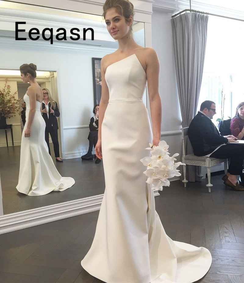 White Satin Simple Mermaid Wedding Dresses Off The Shoulder Cheap