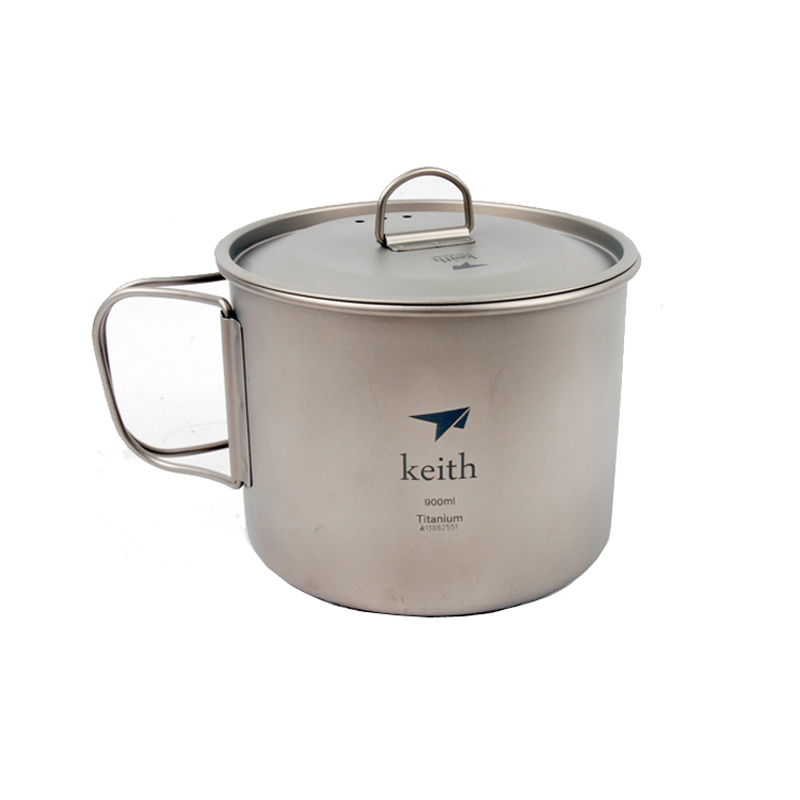 Keith 900ml Ultralight Titanium Cup with Cover Outdoor Mug Camping Table Ti3209  цены