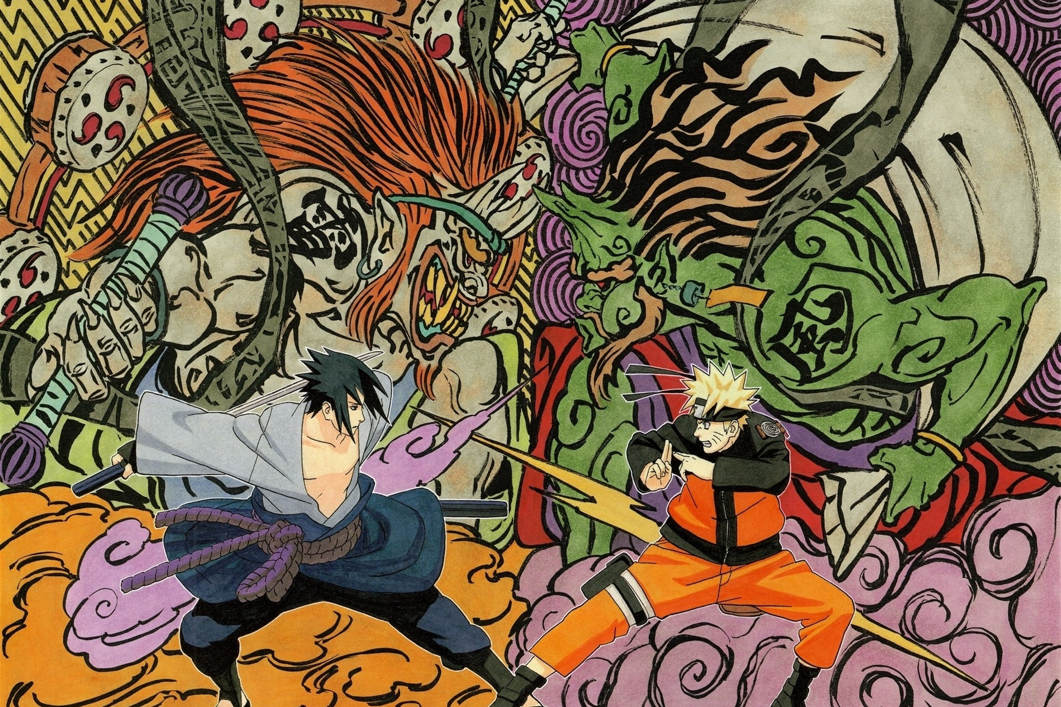 Naruto vs Sasuke art battle weapons Living room home art decor wood frame fabric poster(Accept customization)YR042