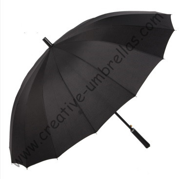 16 ribs,straight metal black golf umbrellas metal shaft,business umbrella,parasol,auto open,windproof,straight leather handle