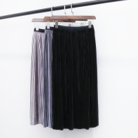 2016 Autumn And Winter Metallic Color Retro Pleated Skirt Shiny Pleated Skirt Gold Velvet Skirt