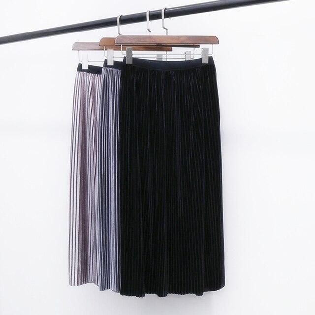 0affb2eda Moda Falda Plisada Retro Faldas de Invierno 2016 de Alta Calidad de Oro  Brillante Otoño de Terciopelo Plisado Media Y Larga de La Cintura Elástico  ...
