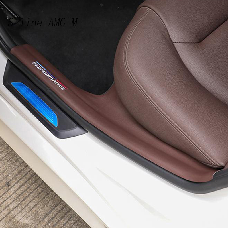 Car Styling Interior door sills scuff plates guard threshold plate leather welcome pedal sticker For <font><b>BMW</b></font> <font><b>3</b></font> <font><b>Series</b></font> <font><b>gt</b></font> F30 F34 F35 image