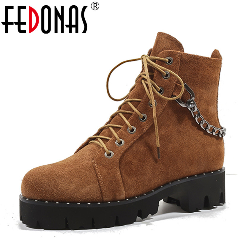 FEDONAS 1New Women Ankle Boots Autumn Winter Warm Cow Suede High Heels Shoes Woman Round Toe Cross-tied Chain Motorcycle Boots цены