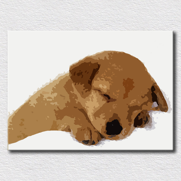 Simple Loving Dog Oil Painting Hand Painted On Canvas Modern Fashion Artwork Gift For