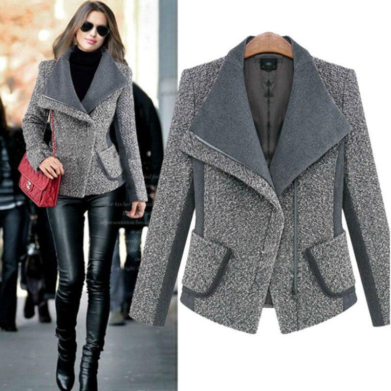 Chic Big lapel Oblique zipper   Coat   Woolen Jacket Cardigan Turn   Down   Collar Slim Outwear 2018 Tops