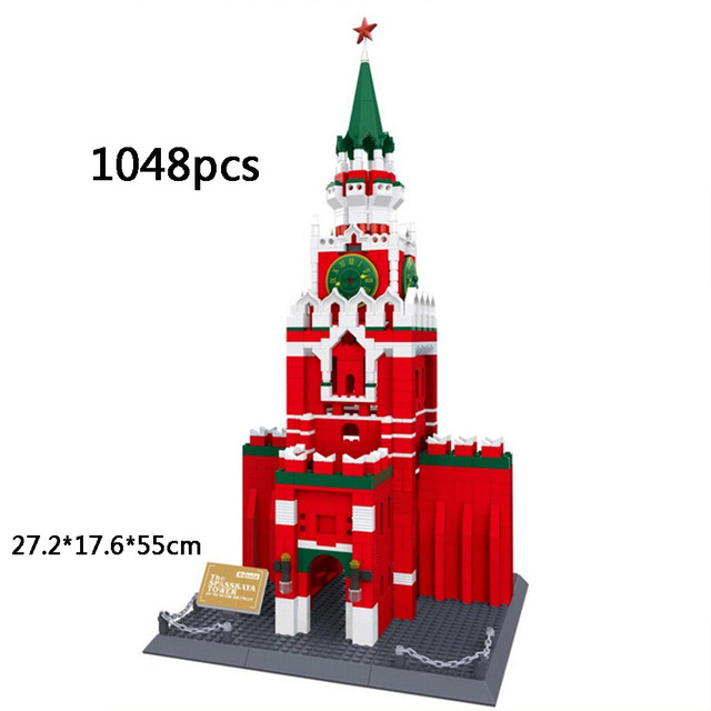 World famous Architecture The Spasskaya Tower of Moscow Kremlin Russia building block model brick toys for kids loz architecture famous architecture building block toys diamond blocks diy building mini micro blocks tower house brick street