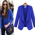 2016 Mujeres Maduras Otoño Traje Azul Cazadora Chaqueta de la Manera Caliente Mujeres Zipper Pocket Básica Abrigos Chaquetas Mujer CC J98
