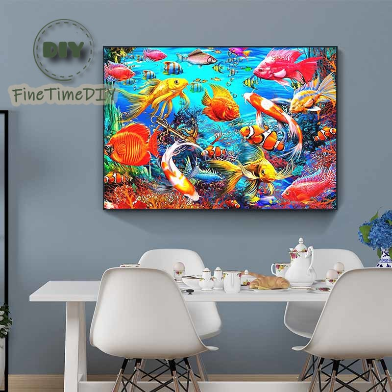FineTime 5D DIY Diamond Painting Fish Full Rhinestone Picture Diamond Embroidery Sale Animal Diamond Home Decor in Diamond Painting Cross Stitch from Home Garden