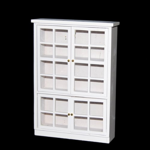KEOL 1/12 Dollhouse Miniature Furniture Kitchen Dining Cabinet Display Shelf White