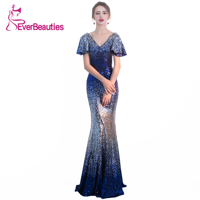 Mermaid   Evening   Gowns Long 2019 Bling Sequin V Neck with Short Sleeve   Evening     Dress   Backless Robe De Soiree Wedding Guest Abiye