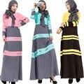 Moda 2016 Mujeres Calientes Vestidos Abaya Ropa Islámica del Abaya en Dubai Túnica Suelta de Manga Larga a Rayas Vestido Maxi Msulim
