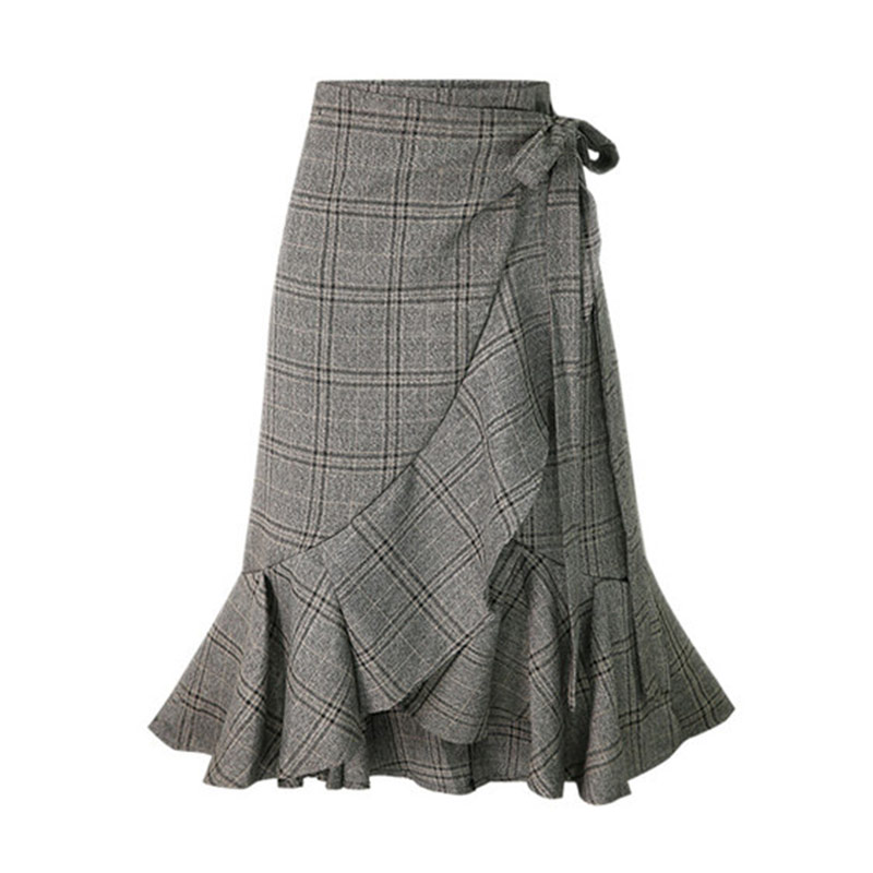 HDY Haoduoyi Women Plaid Skirts Pleated Hem Ruffles Korean Fashion Casual skirt Irregular Bottom Spring Summer Asymmetrical New 6