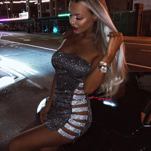 Side Hollow Out Sequined Strapless Sexy Evening Party Dress Fashion Slash Neck Sleeveless Summer Dress Women Pencil Vestidos
