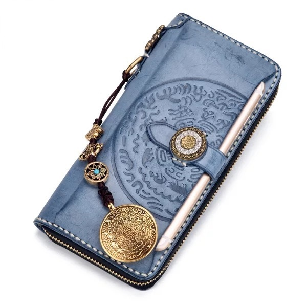 embossed eight diagrams designer genuine tanned leather men's long card  wallet male large phone holder clutch