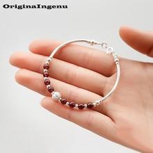 925 Sterling Silver Jewelry Boho Garnet Bangle Simple Charms Vintage Birthday Gift Original Indian Bracelets