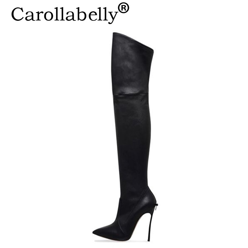 Carollabelly 2018 New Plus Size 33-43 Bow Heel Over The Knee High Boots Women Winter Thigh High Boots Sexy Warm High Heels Boots стоимость