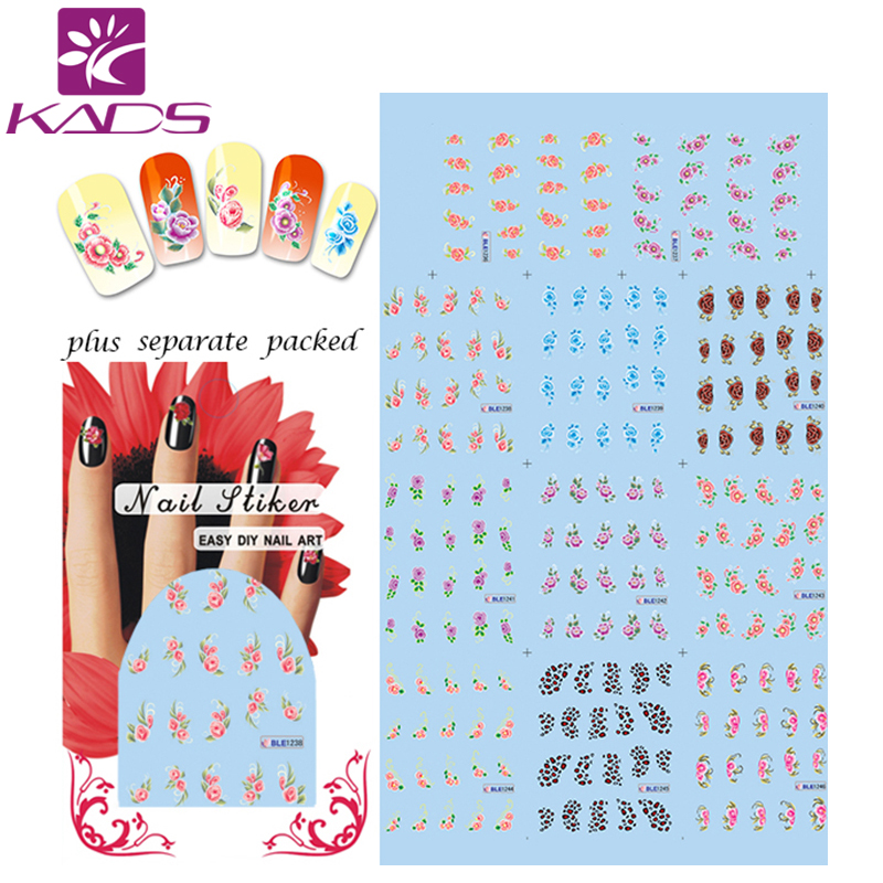 (20/50)New Fashion Rabbit Doll Cute Cat Water Decals Nail Art Mixed Combination Designs Nail Tips Accessory Decoration