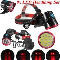 Smuxi Brightness 8000 LM 7/8 9*T6 LED Headlight Bicycle Head Light Cycling Lamp 18650 Rechargeable Flashlight Fishing Torch
