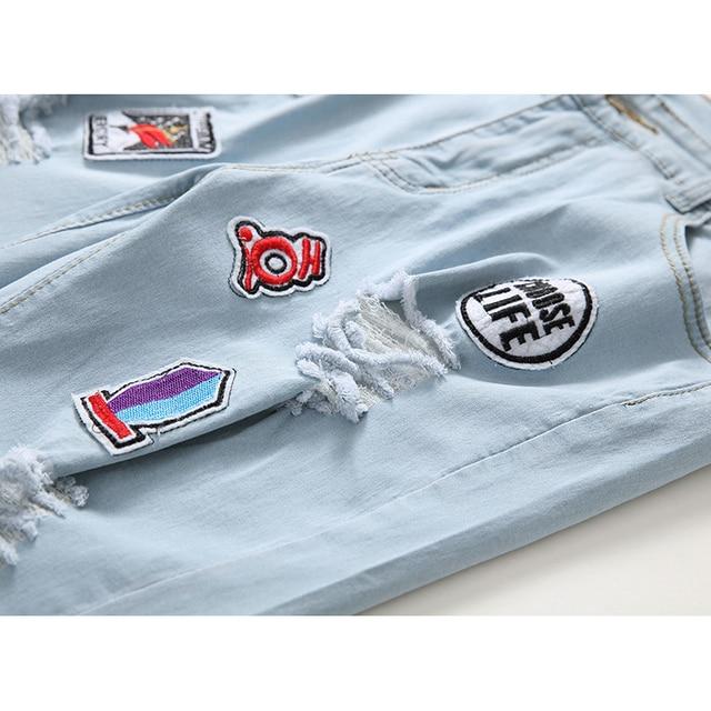 Blue Ripped Distressed Denim Short Jeans 6