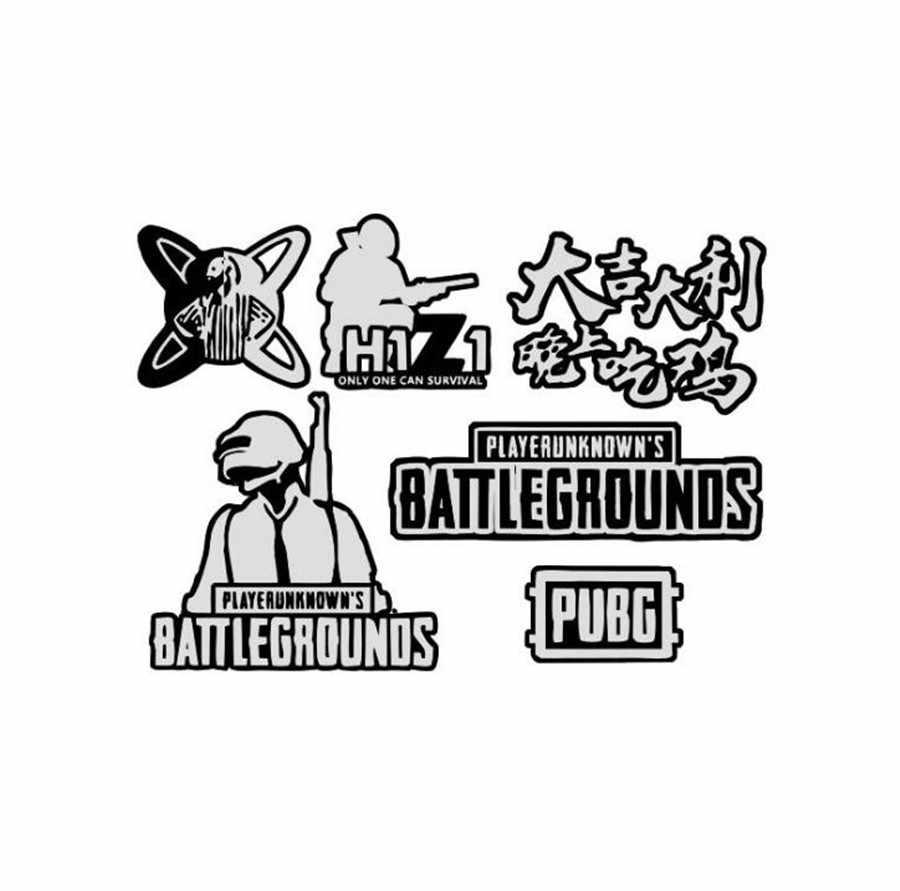 Hot Game PUBG H1Z1 Metal Sticker Card stickers Battlegrounds Pans Weapon  Model stickers Surrounding