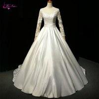 Waulizane блестящего атласа v образным вырезом Свадебные и Бальные платья Блестящие Аппликации Длинные рукава складки Пояса Кружево до невесты
