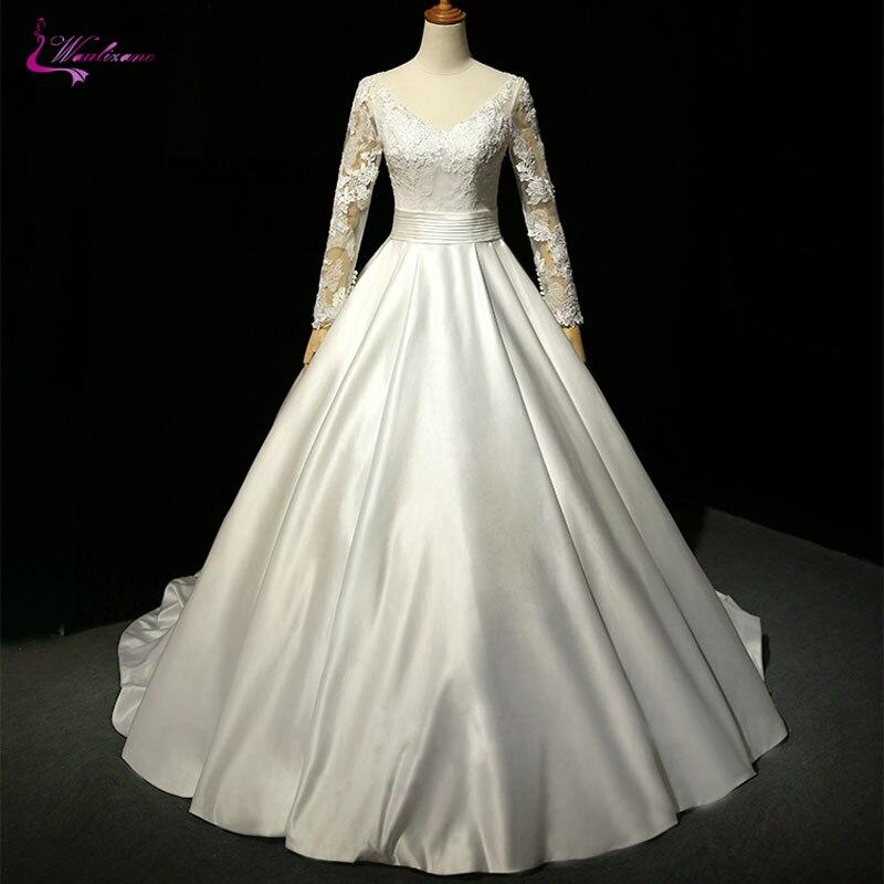 Full Ball Gown Wedding Dresses: Waulizane Lustrous Satin V Neck Ball Gown Wedding Dresses