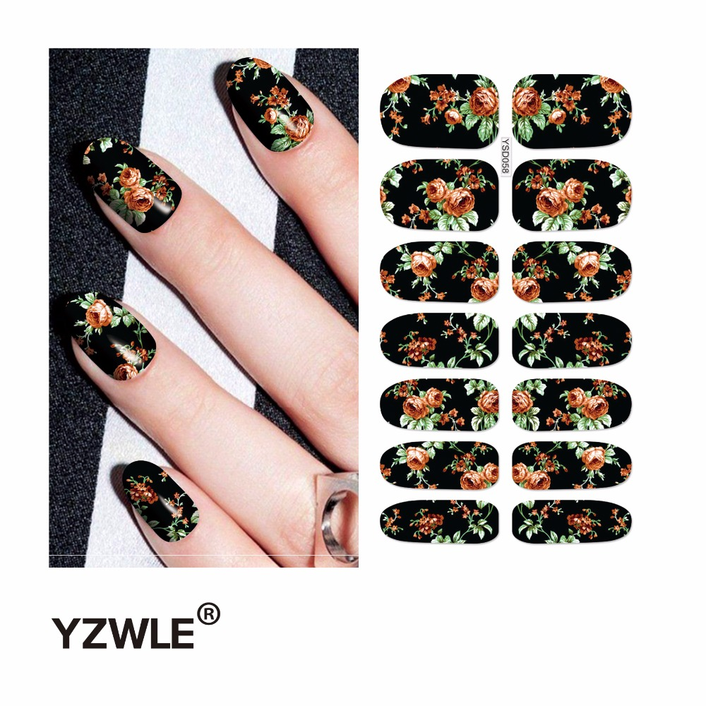 YZWLE 1 Sheet Water Transfer Nails Art Sticker Manicure Decor Tool Cover Nail Wrap Decal (YSD058) yzwle 3d french style white lace bow nail art sticker decal manicure tip nail art decoration xf ju079