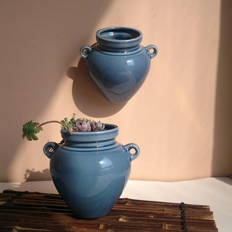 keramičke zidne plantaže planters za succulents plave keramičke - Vrtni proizvodi - Foto 3