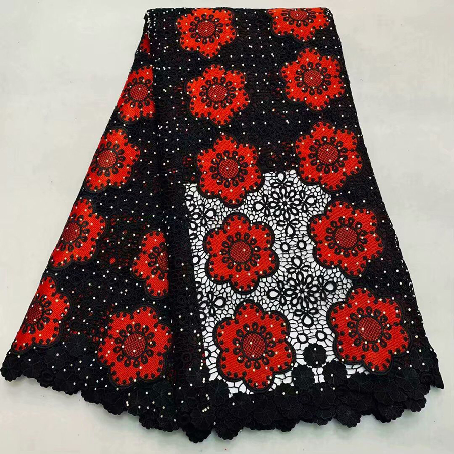 Red+Black French embroidered Guipure Lace Fabric 2018 High Quality African Water Soluble Lace Fabric For Wedding dress
