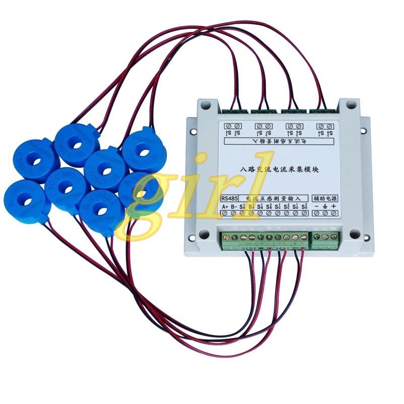 Eight AC Current Acquisition Module MODBUS-RTU Protocol RS485 Current Measurement