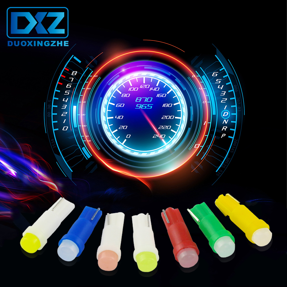 DXZ 10Pcs W3W W1.2W T5 COB Car Instrument Panel Light Auto Dashboard Warming Indicator Wedge Lamp Ice Blue Red Pink Yellow Green