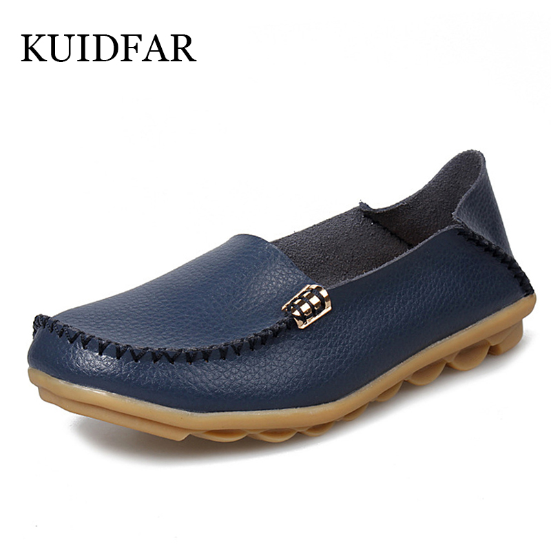 KUIDFAR Women Shoes Woman Flats Genuine Leather Round toe Slip on Loafers Ladies Flat Shoes Skid proof Spring/Autumn Footwear(China)