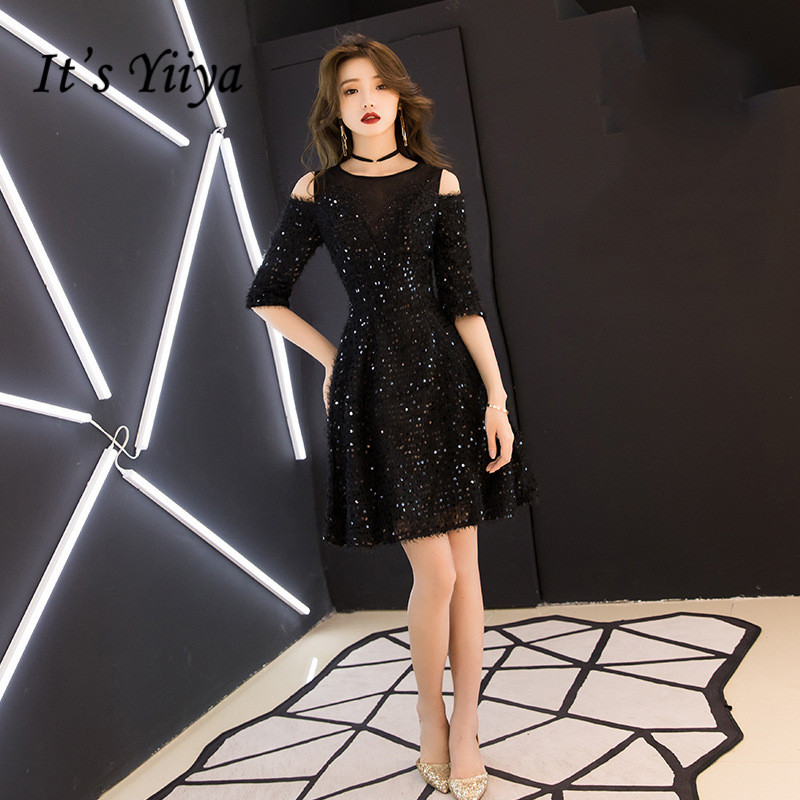 It's YiiYa Cocktail Dresses Royal Half-sleeves Sequined Party Formal Dress Elegant Lace Tassel A-line Knee Length Prom Gown E325