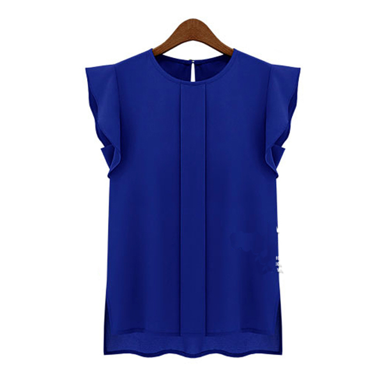 Fashion OL Elegant Blouse Casual Green Pullover Shirt Office Women Solid Chiffon Top Lady Ruffle Short Blue Sleeve