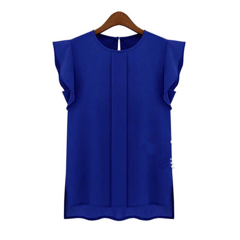 Moda OL Elegante Blusa Ocasional Camisa Pullover Escritório Verde Mulheres Sólidos Chiffon Top Senhora Irritar de Manga Curta Azul