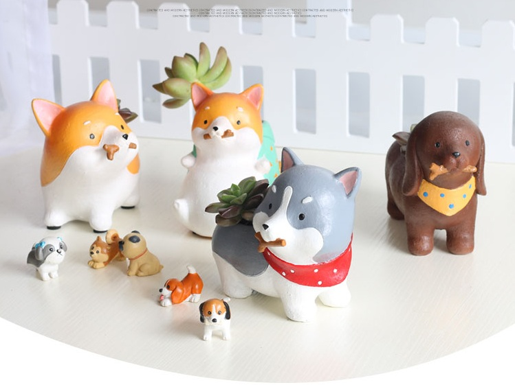 Animali Flower Resina Flowerpots Akita Husky Dachshund Planters Piante succulente Dog Flower Pot Fabbrica all'ingrosso / Drop Shipping