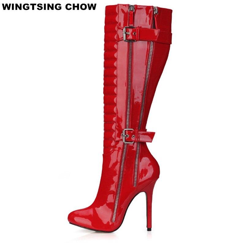 Plus Size Winter Shoes Women Over The Knee Boots High Heels Fashion Buckle Autumn Shoes Women Pumps Ladies Shoes ppnu woman winter nubuck genuine leather over the knee snow boots women fashion womens suede thigh high boots ladies shoes flats