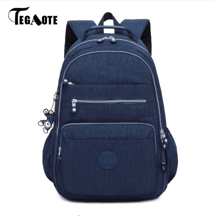 TEGAOTE School Backpack Teenage Girl Nylon Waterproof Casual Women Backpacks Mochila Feminina Laptop Bagpack Female Sac