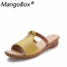 97ccc0d4 Kobiety Muły Buty Skórzane Pantofle Butów Panie Moda Lato Sandały Płaskie  Platformy Poza Slajdy Biały Czarny
