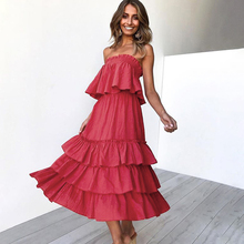 spring and summer new dress two-piece tube top shirt backless loose tiered ruffle dress недорого