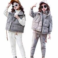 Zestawy ubrań dla dziewczynek zimowe dziewczyny Sport garnitur odzież dla dzieci Plaid sweter z polaru grube dzieci dres nastolatek stroje dla dzieci 8Y